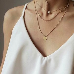 ✨Pearl & Disc Layered Necklace✨